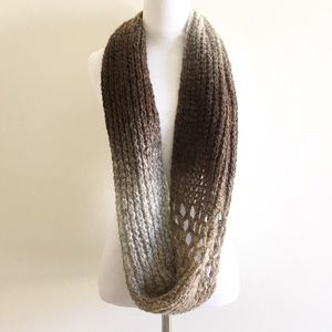 Ombre Crochet Knit Infinity Scarf Brown Gray Fall